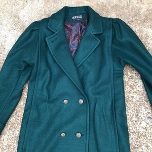 Vintage 70's USA Made Green Wool Trench Coat!